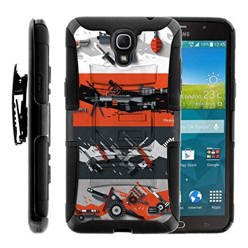 (TurtleArmor | Compatible for Samsung Galaxy Mega 2 Case [Hyper Shock] Armor Hybrid Hard Shell Kickstand Fitted Silicone Holster Belt Clip War and Military Design - Heavy Artillery)