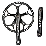 Single Speed Crankset Set 53T 170mm Crankarms 130 BCD Litepro Folding Bike Crankset with Protective Cover for Single Speed Bike, Track Road Bicycle, Fixed Gear, Fixie, Dahon (Square Taper, Black)