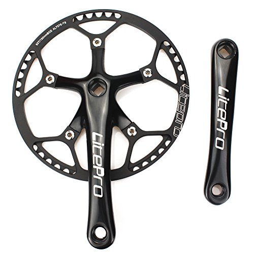 Single Speed Crankset Set 53T 170mm Crankarms 130 BCD Litepro Folding Bike Crankset with Protective Cover for Single Speed Bike, Track Road Bicycle, Fixed Gear, Fixie, Dahon (Square Taper, (53t Ring)
