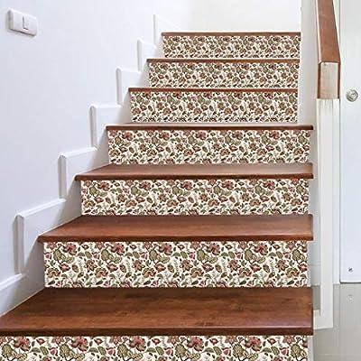 Harpily 3D escalera pegatinas auto adhesivo vinilo color desmontable con Estampaldo Floral DIY impermeable escalera creativa pegatinas (B): Amazon.es: Bricolaje y herramientas
