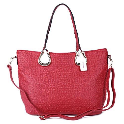 Damara Mujer sintética Gemelos asas unevenness versátil bolsos Red