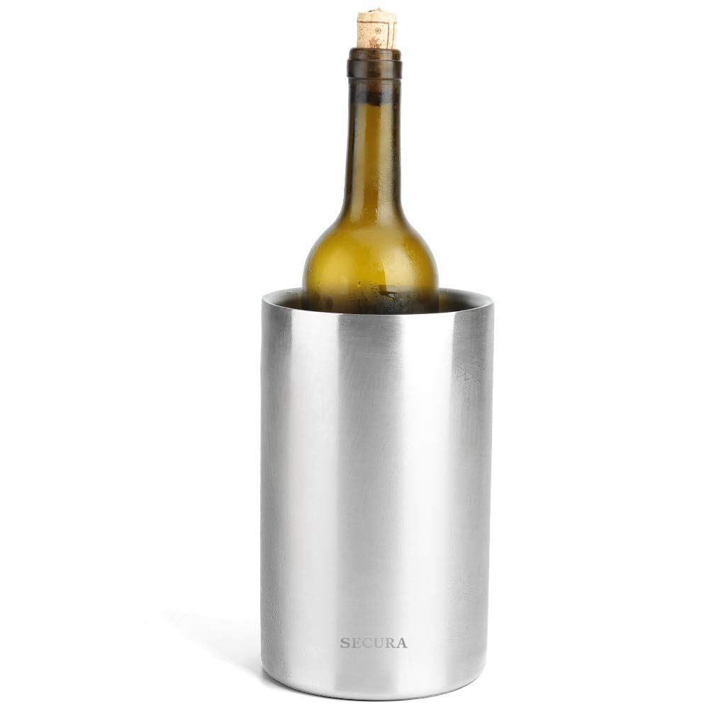 Secura Wine Cooler Bucket | 18/8 Stainless Steel Double Wall Wine Bottle Chiller Champagne Ice Bucket