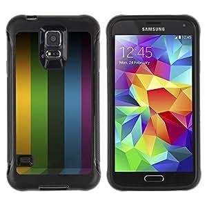 All-Round híbrido Heavy Duty de goma duro caso cubierta protectora Accesorio Generación-II BY RAYDREAMMM - Samsung Galaxy S5 SM-G900 - Lines Stripes Purple Rainbow Yellow