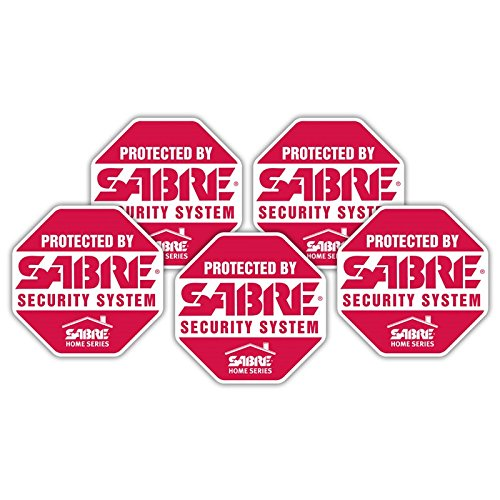 SABRE Security Signs - Home Security Decals - 5 Bright Red, Stop Sign Shaped Security Stickers - Alarm Decals