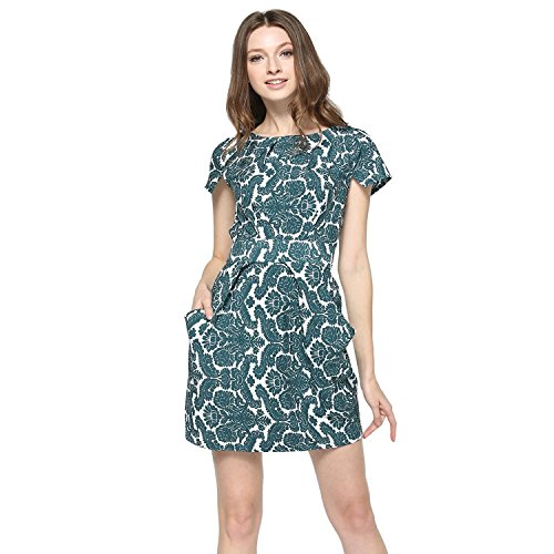 FCLM Women's Short Sleeve Slim Casual Party Dress With Belt Above Knee XS Green ED46