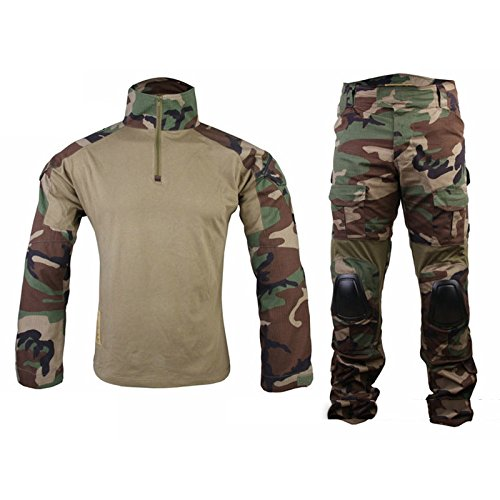 Emerson Gen2 Military BDU Uniform Tactical Combat Training Suit for Wargame Paintball with Knee Pads Elbow Pads Woodland M (Emerson Gen2 Combat compare prices)