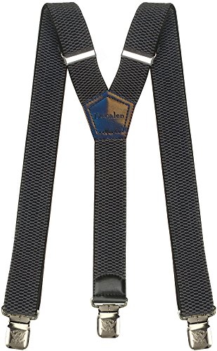 (Mens Suspenders Wide Adjustable and Elastic Braces Y Shape with Very Strong Clips - Heavy Duty (Dark Grey) )