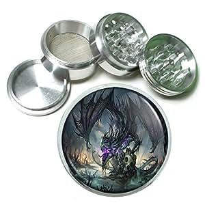 Dragon D14 Herb & Spice Grinder 63mm 4 Piece Aluminum Silver Metal Fantasy Mythology