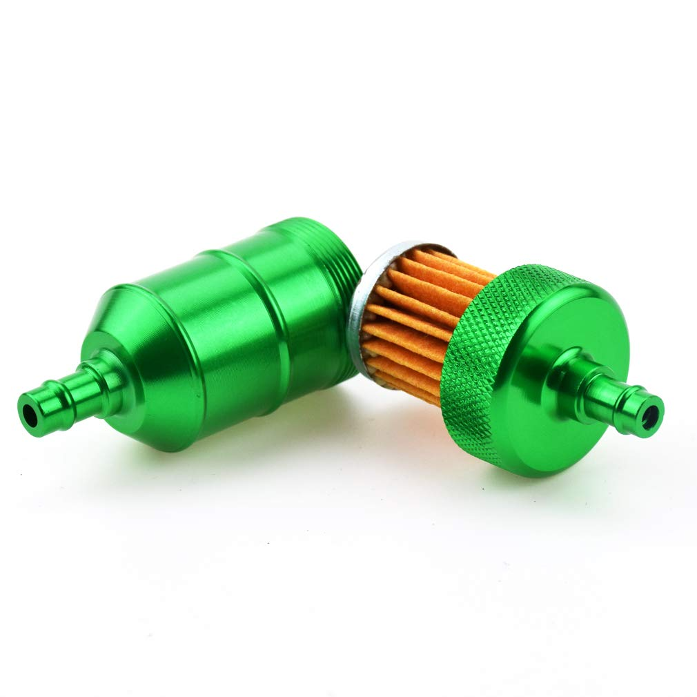 CNC Aluminum Performance Fuel Filters for 80cc 49cc 60cc 66cc 2 Stroke Engine Motorized Bicycle Bike 110cc Chinese Atv 125cc Pit Bike CatEye 47cc 49cc Mini Pocket Chopper Parts Green