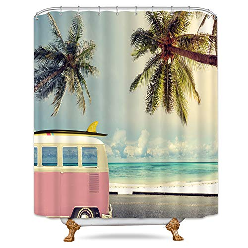 Riyidecor Beach Coastal Shower Curtain Summer Vacation Palm Trees Camping Blue Retro Car Decor Fabric Set Polyester Waterproof 72x72 Inch 12 Pack Plastic Hooks