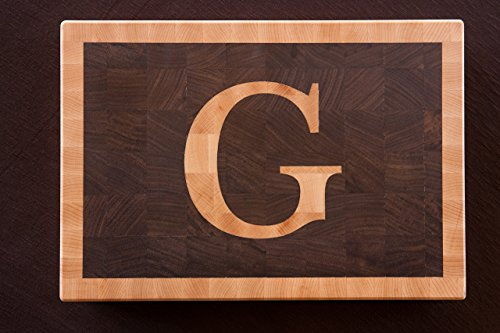Chopping Blox Personalized end grain cutting board with Maple inlay letter. SIXD-WXX