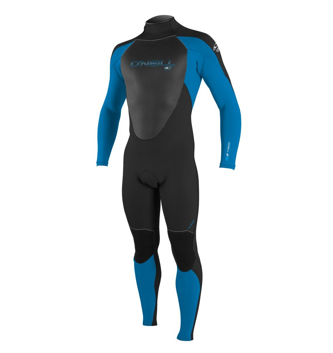 O'Neill Men's Epic 3/2mm Back Zip Full Wetsuit, Black/BrightBlue, Small