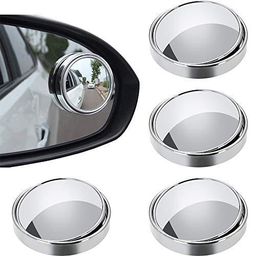 Espejos para Puntos Ciegos, 4 Piezas Espejo Retrovisor de Punto Ciego, Espejo de Punto Ciego para Coches, 360 ° Giratorio, HD Impermeable, para Mejorar la Seguridad en la Conduccion