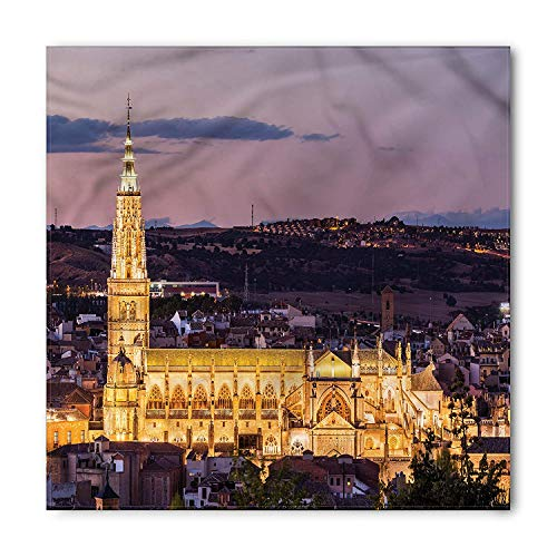 Wanderlust Bandana, Night Skyline on Cathedral in the Ancient City of Toledo Spain Image,39.339.3inch -