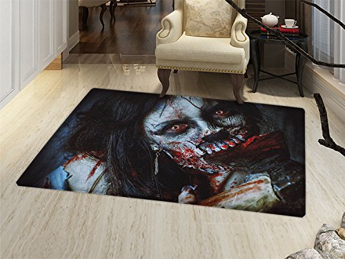 smallbeefly Zombie Door Mats for home Scary Dead Woman with a Bloody Axe Evil Fantasy Gothic Mystery Halloween Picture Bath Mat Bathroom Mat with Non Slip Multicolor -