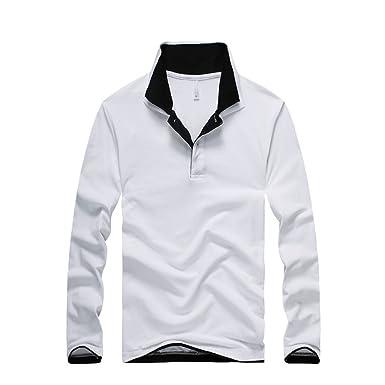 f00c3df919b703 LAYORE メンズ ポロシャツ 長袖ポロ Tシャツ 二重襟 長袖 無地 ゴルフウェア トップス カジュアル