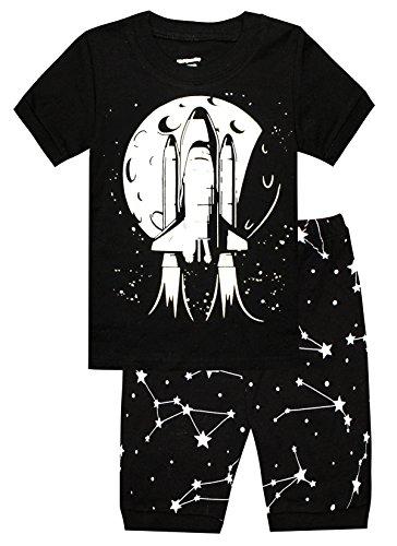 Kids Pajamas Hop Boys Cotton Pajamas Airplane Kids 2 Piece Sleepwears Childrens Pyjamas (Black,12) - Kid Comfortable Sleepwear Pants