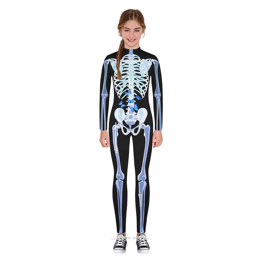 Halloween Costume Skeleton Print Bodycon Jumpsuits for Girls Boys, Teen Funny Skull Bodysuit (XL, White) by sweetnice Girls Dress