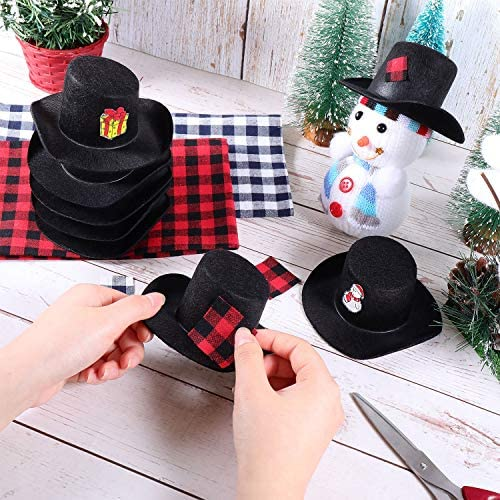 8 Pieces Felt Top Hats Black Mini Top Hats Christmas Party Decoration for Your Snowman, Doll, or Other Craft Project