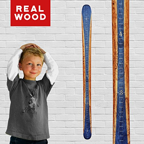 Growth Chart Art | Ski Growth Chart | Wooden Wall Hanging Wood Height Chart Boys | Sapphire Blue