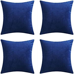 "Andreannie Set of 4 Velvet Super Soft Comfortable Solid Decorative Throw Pillow Cover Cushion Case for Sofa Living Room 18 inches,20 inches Square (Dark Blue, 18""x18"")"