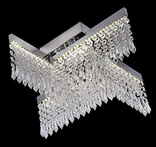 Led Crystal Chandelier in Silver Finish