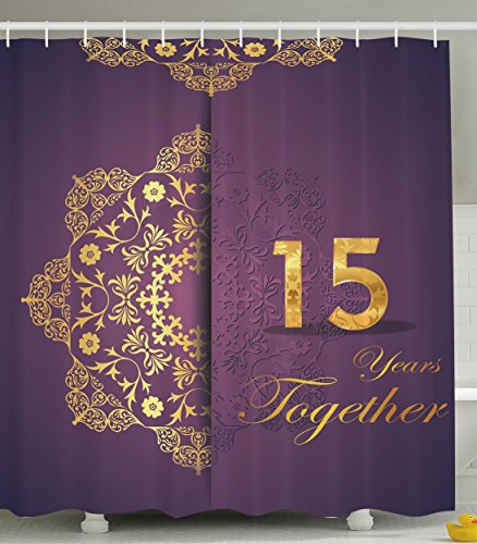 Fifteen Years Together 15th Year Anniversary Gifts for Couple Wife Parents Her Him Husband Couples 15th Birthday Party Decorations Purple Violet Gold Fabric Shower Curtain