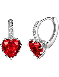 Fashion Dangle Heart Earrings Sterling Silver Stud Earrings for Women Girls with Swarovski Crystal