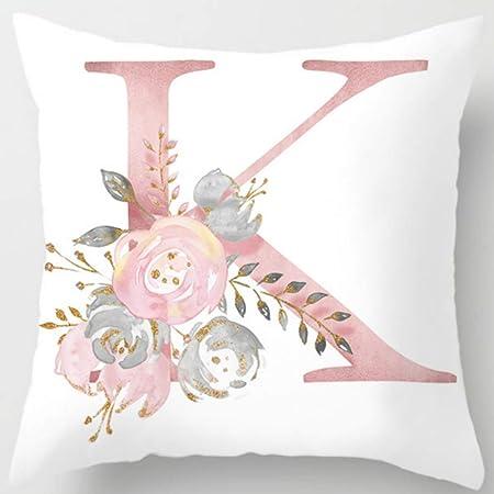18inch Zippered Pillow Case Alphabet Pattern Printing Cotton Linen Throw Pillow Case Cushion Covers 18 B