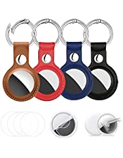 ViaGasaFamido 4Pack AirTags Keychain Leather Case for AirTag Tracker (2021),Very Strong and Can't Fall Portable AirTags Keychain+(8 Pack Air Tags Protector) Anti-Scratch Lightweight