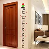 IGEMY Baby Kid Room Deco Height Ruler Measure Chart DIY 3D Acrylic Crystal Wall Stickers (Black)