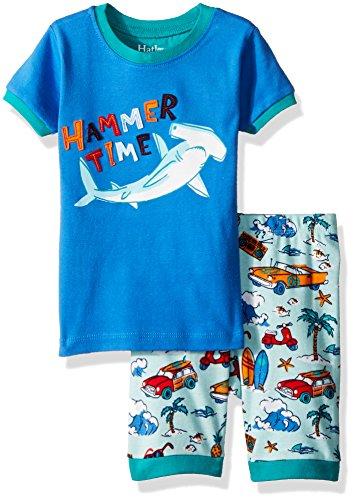 Hatley Big Boys' Organic Cotton Short Sleeve Appliqué Pajama Sets, Surf Island, 8 (Hatley Pj Set)
