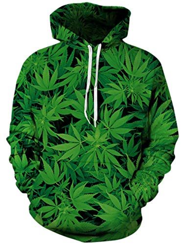 TUONROAD Unisex Adult Men Women Popular 3D Hooded Pullover Black Green Leaves Apocynum Venetum Funny Tops Cool Premium Quality Novelty Hoodies Sweaters Midweight Sportswear with Kangaroo Pocket - Premium Hoodie Adult