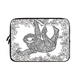 Sloth Laptop Sleeve Bag,Neoprene Sleeve Case/Outline Drawing of Sloth in Jungle Zoo Animal with Ornamental Details and Flowers Decorative/for Apple MacBook Air Samsung Google Acer HP DELL Len