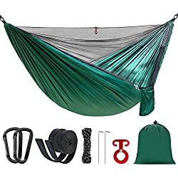 Double Camping Hammock with Mosquito Bug Net Portable Lightweight Parachute Nylon Hammock for Backpacking Travel Beach Yard Outdoor(Dark Green)