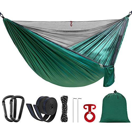 SilkRd Double Camping Hammock With Mosquito Bug Net and Hammock Tree Straps,Portable Parachute Ripstop Nylon Hammock for Backpacking Travel,Outdoor Hiking(Dark Green) by SilkRd