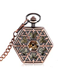 Snowflake Mens Rose Gold Mechanical Pocket Watches for Men Women,Pendant with Chain Xmas Gift - Ahmedy Pocket Watch