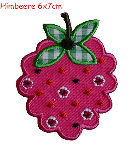 2 iron on patches Raspberry 6x7 and Fish 8x6 - embroidered fabric appliques set by TrickyBoo Design Zurich -