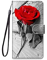 Miagon Full Body Wallet Case for Samsung Galaxy M51,Colorful Pattern Design PU Leather Flip Cover with Magnetic Closure Stand Card Slot,Red Flower