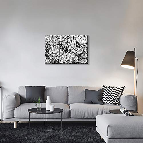 Gronda Black and White Abstract Wall Art for Living Room Canvas Paintings Home Decor Stretched and Framed Ready to Hang Bedroom Bathroom,16x24 inch.
