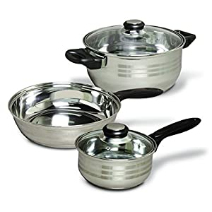 Gibson Home Back to Basics Stainless Steel Cookware Set, 32-Piece, Silver