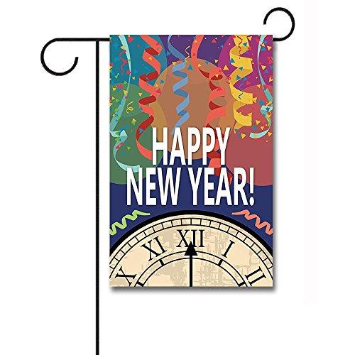 KafePross Happy New Year Bell and Ribbon Decorative Garden Flag 12.5