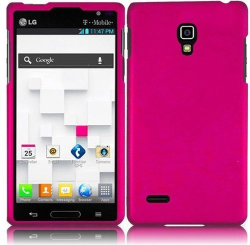Hot Pink Hard Case Snap On Rubberized Cover For LG Optimus L9 P769 (T-Mobile)