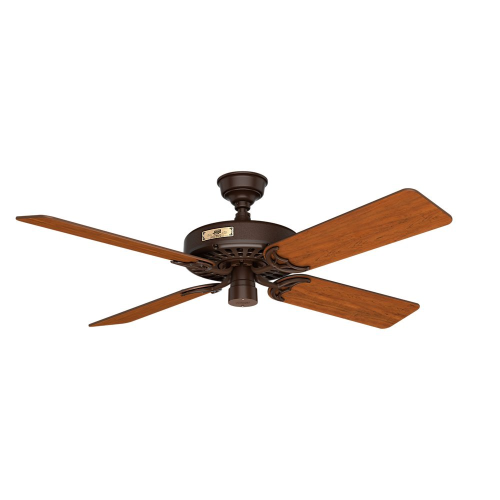 Hunter 23847 Original 52 Chestnut Brown Ceiling Fan With Five Cherry Walnut Reversible Blades