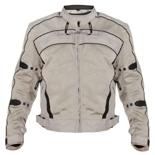 Mesh Tex Jacket Leather (Xelement CF378 'Igniter' Men's Silver Armored Tri-Tex Jacket - Silver / X-Large)