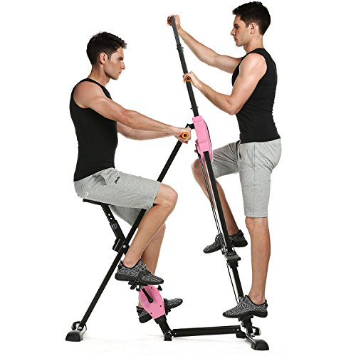 Kepteen Vertical Climber Folding 2 in 1 Climbing Stepper Home Gym Exercise Machine Exercise Bike for Home Body Trainer Stepper Cardio Workout Training(US Stock) (Pink)