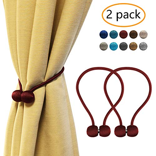 YOBAYE Magnetic Curtain Tiebacks, 2 Pack Drape Tie Backs Decorative Curtain Rope Holdbacks for Home Kitchen Office Window Drapes, No Drilling & Holes Required,Burgundy