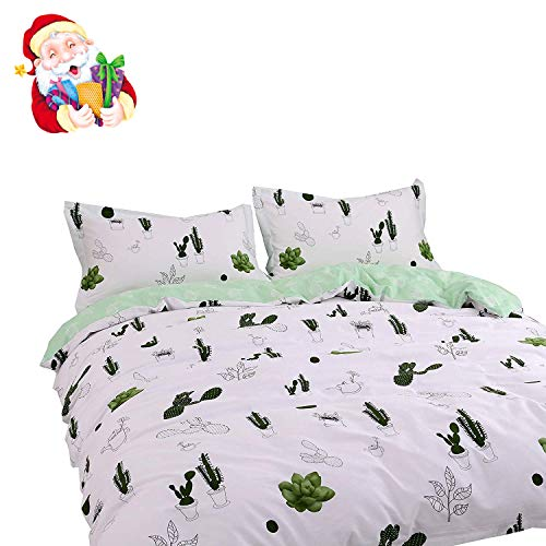 BuLuTu Cactus art print Cotton Twin Bedding Collections White by using 4 Corner Ties Premium Teen Bedding Duvet Cover Sets Zipper Closure for Boys Girls,Twin