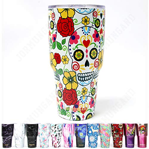 Jormungand Tumbler 30oz Stainless Steel Vacuum Insulated Travel Mug with Straw Friendly Lid Double Wall Coffee Cup Sugar Skull Yellow ()
