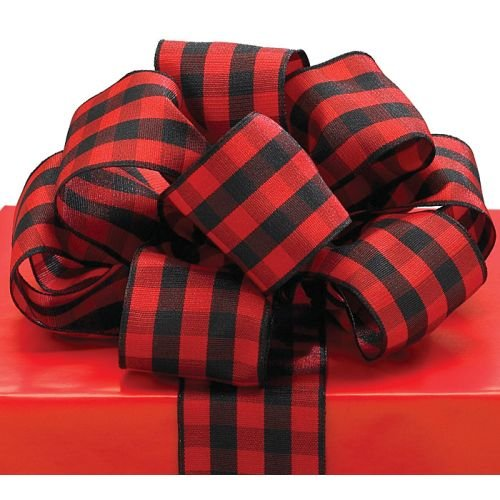 Red Black Plaid Ribbon 20 yards 1.5' wired Bow Craft Decor Birthday...